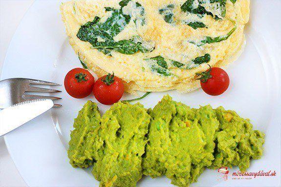Hráškovo-mrkvové pyré s omeletou