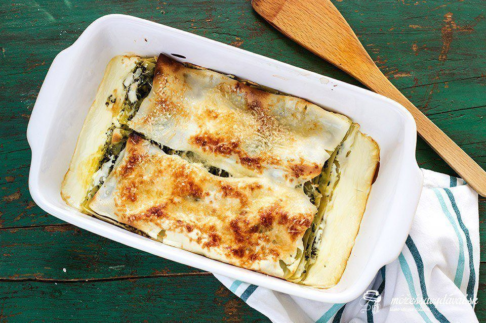 Špenátovo-tvarohové lasagne v jogurte