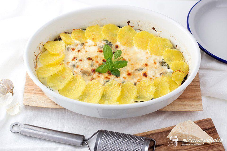 Gratinované zemiaky s hlivou a špenátom