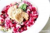 Krémové cviklovo-špenátové rizoto s panenkou
